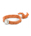 FEEL GOOD Round - Silver bracelet. Orange with pearl.