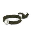FEEL GOOD Round - Silver bracelet. Kaki with pearl.