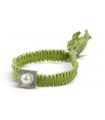FEEL GOOD Quadrato - Bracciale verde d'argento con perla.