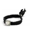 FEEL GOOD Quadrado - Pulsera negra de plata con perla.