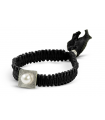 FEEL GOOD Square - Silver bracelet. Black with pearl.