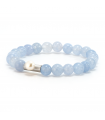 GEM'S - Blue bracelet with mineral stones. Silver element with pearl.