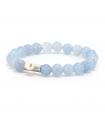 GEM'S - Bracciale azzurro con pietre minerali. Elemento d'argento con perla.