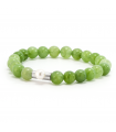 GEM'S - Green bracelet with mineral stones. Silver element with pearl.