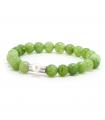 GEM'S - Pulsera verde de minerals. Pieza de plata con perla.