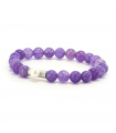 GEM'S - Violet bracelet with mineral stones. Silver element with pearl.