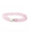 GEM'S - Bracciale rosa con pietre minerali. Elemento d'argento con perla.