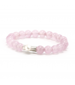 GEM'S - Pink bracelet with mineral stones. Silver element with pearl.