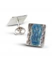 BLUE SEA - Silver earrings blue enamelled.