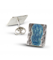 MAR AZUL - Pendientes de plata esmaltados azul.