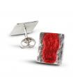 MAR ROJO - Pendientes de plata esmaltados rojo.