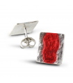 MAR VERMELL - Arracades de plata esmaltades vermell.