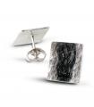 MAR NEGRO - Pendientes de plata esmaltados negro.
