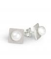 FEELGOOD - Pendientes de plata cuadrados con perlas.
