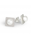 FEELGOOD - Square Silver earrings with pearls.