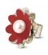 NENÚFAR - Anell de plata esmaltat vermell amb perla.
