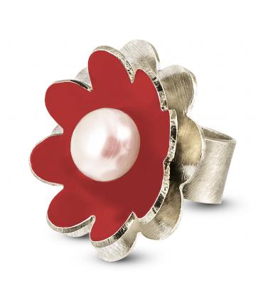 NENÚFAR - Anello d'argento smaltato rosso con perla.
