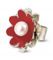 NENÚFAR - Anillo de plata esmaltado rojo con perla.