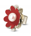NENÚFAR - Silver ring red enamelled with pearl.