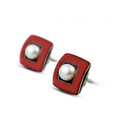 ÀGORA - Silver earrings red enamelled with pearl.