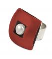 ÀGORA - Anillo de plata esmaltado rojo con perla.