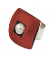 ÀGORA - Silver ring red enamelled with pearl.