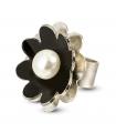 NENÚFAR - Anillo de plata esmaltado negro con perla.
