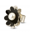 NENÚFAR - Silver ring black enamelled with pearl.