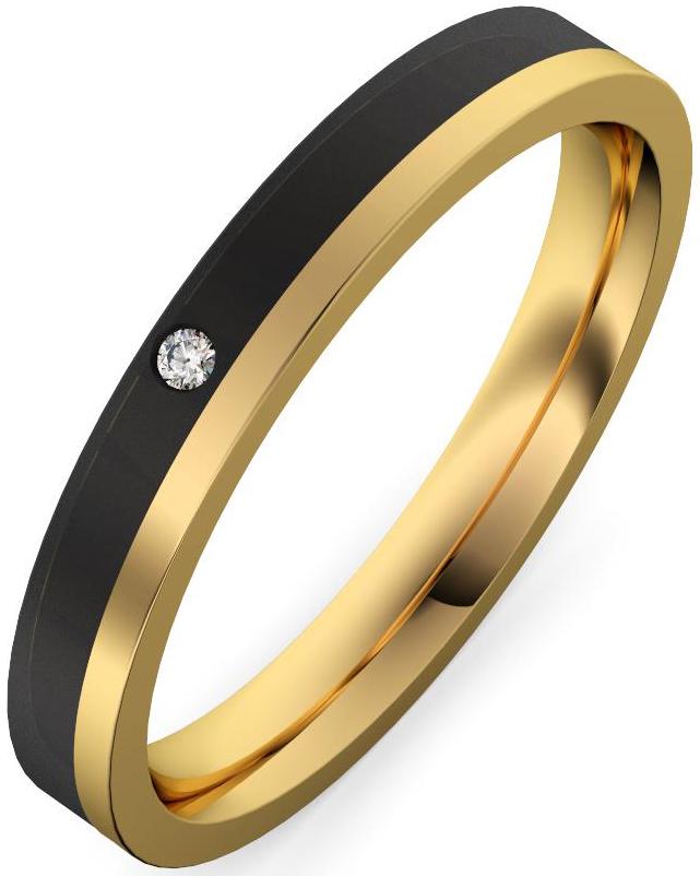 alianza oro amarillo y fibra de carbono con diamante