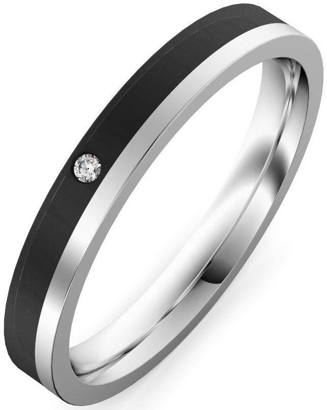 alianza oro blanco y fibra de carbono con diamante