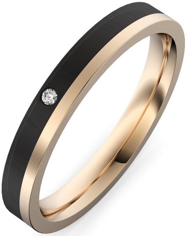 alianza oro rosa y fibra de carbono con diamante